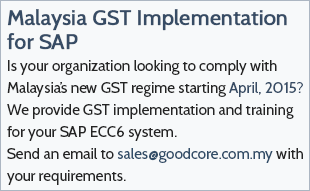 Malaysia GST Implementation for SAP